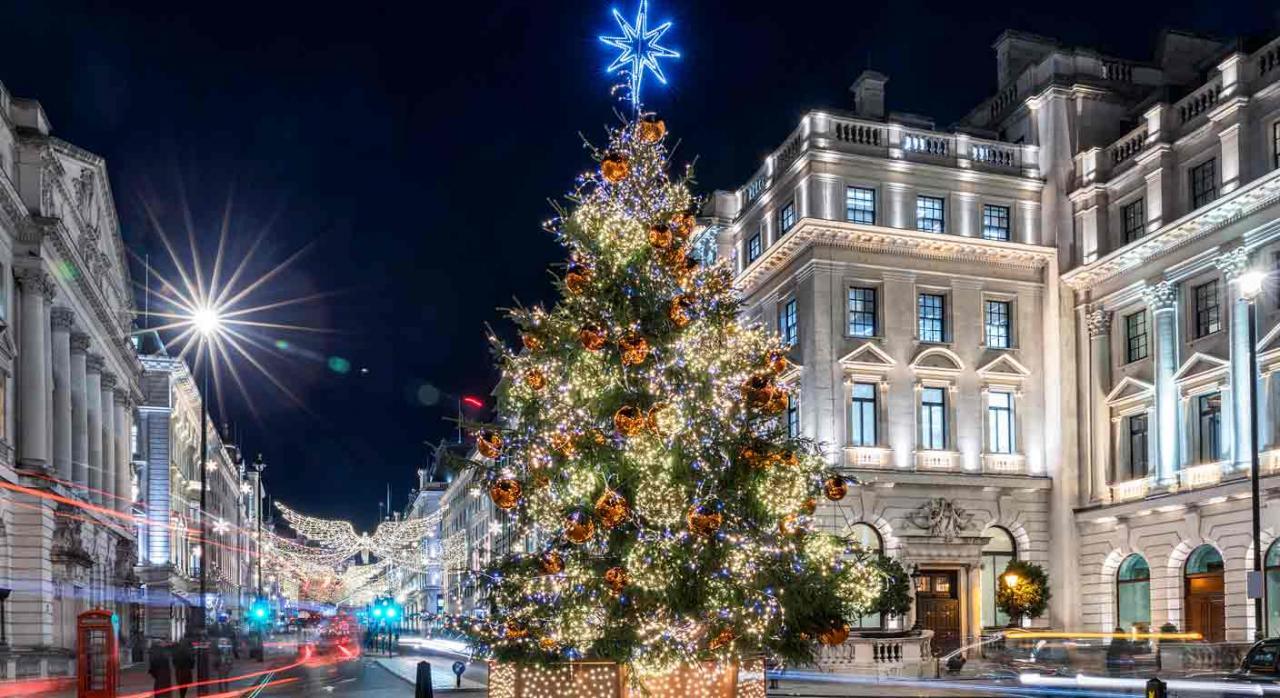 Jurisprudecia. Calle de una ciudad de noche y un árbol de navidad en primer plano