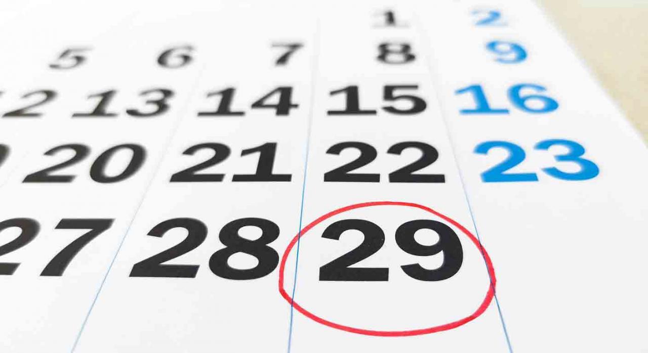 El TS en el año bisiesto 2020 cambia de criterio. Imagen del calendario de febrero