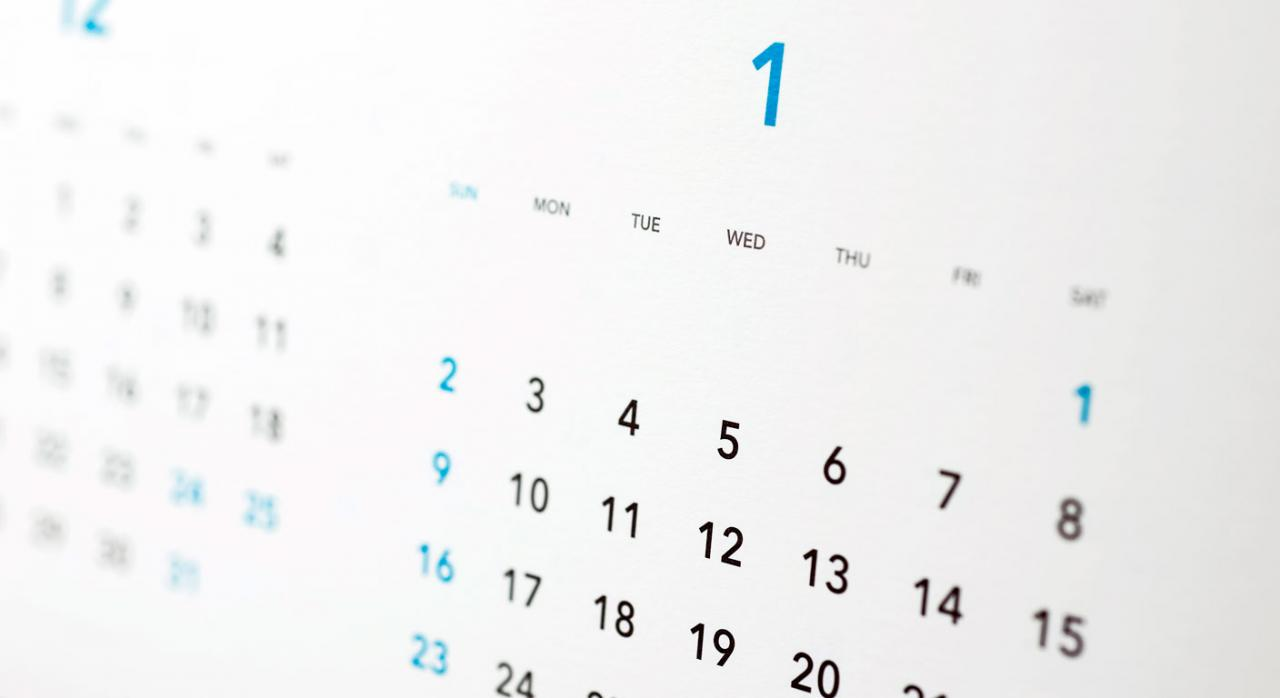 Imagen de un calendario. Revisión salarial y plazo de prescripción