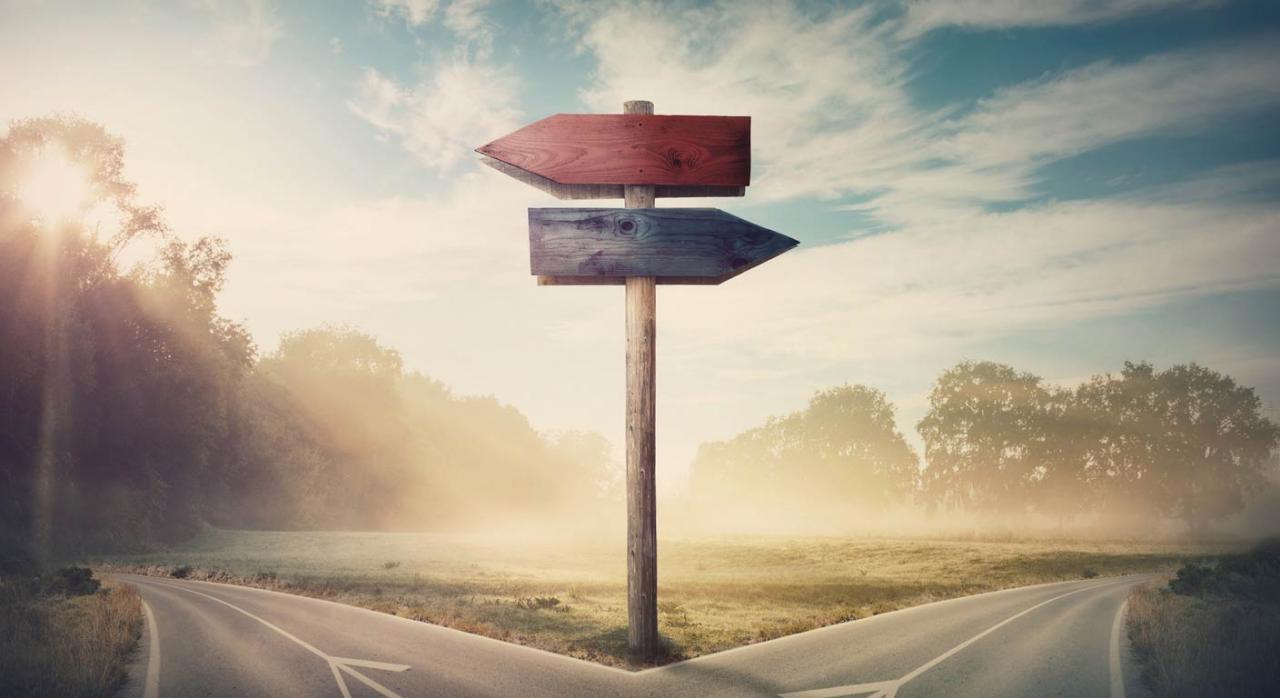 La pérdida o carencia de rentas no puede protegerse a la vez con dos prestaciones que tengan la misma finalidad. Imagen de cruce de carretera con carteles de indicación