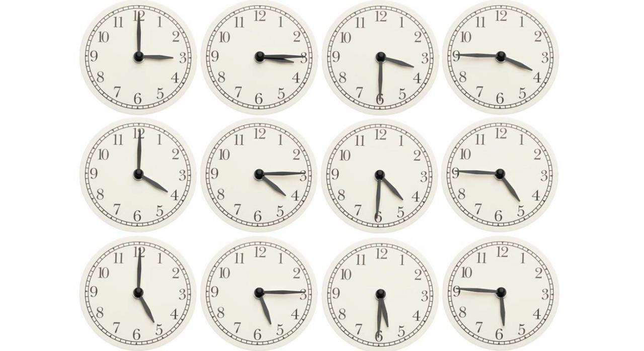 Se trata de dos representaciones  –la unitaria y la sindical– de distinta naturaleza. Imagen de conjunto de relojes de oficina mostrando varios tiempos