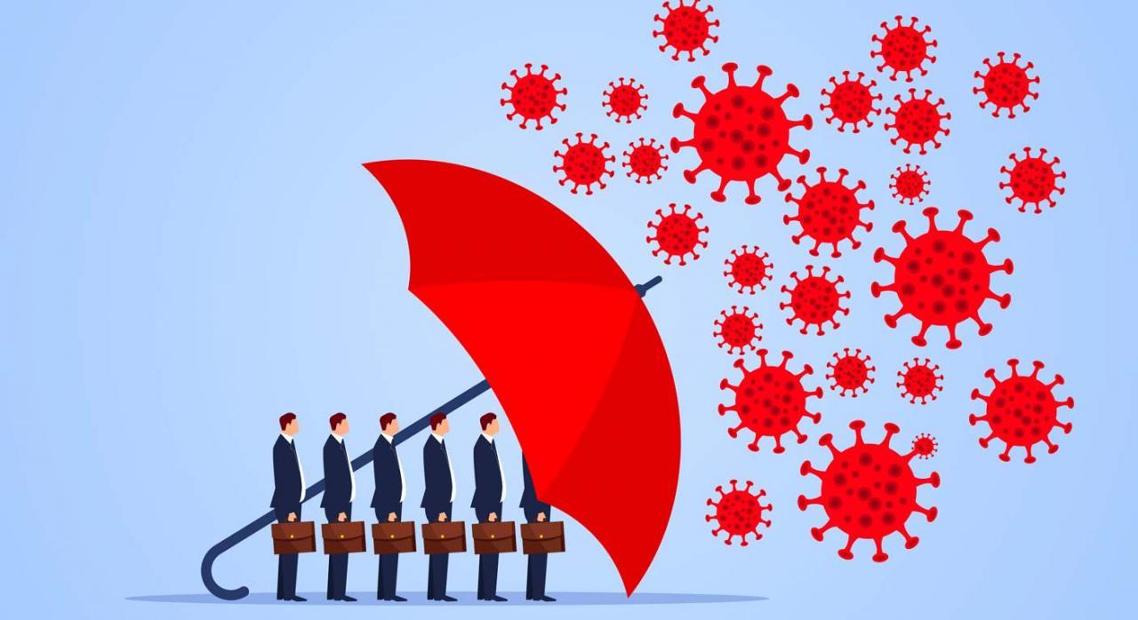 Cambios en el ámbito laboral como consecuencia del COVID-19. Imagen de paraguas rojo que protege a los comerciantes frente al coronavirus