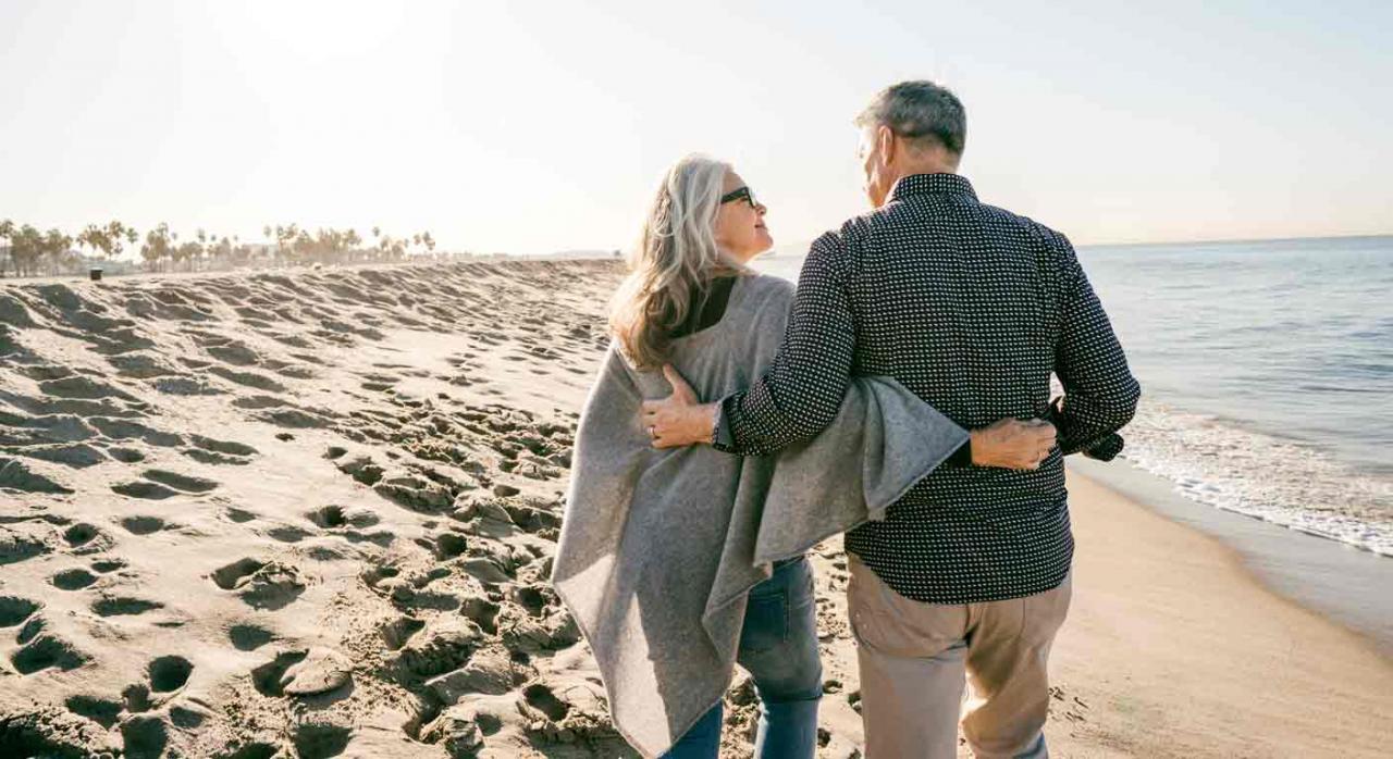 Jubilación a prorrata al amparo de los reglamentos comunitarios. Pareja jubilados paseando por la playa