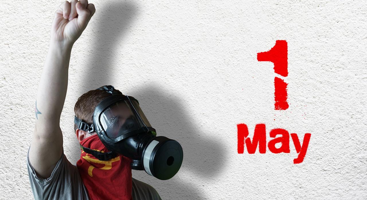 Derecho de reunión; derecho a la vida; 1º de mayo. Imagen de un joven manifestante