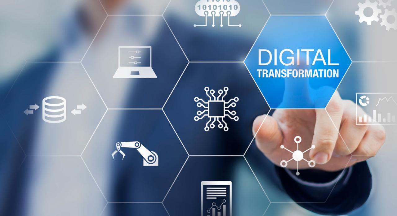 Digitalización empresarial. Imagen dedo pulsando pantalla interativa