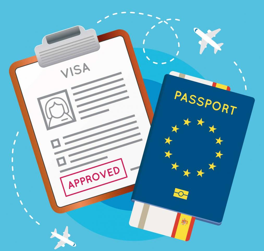 Visado sellado y pasaporte europeo. Extranjeros en España