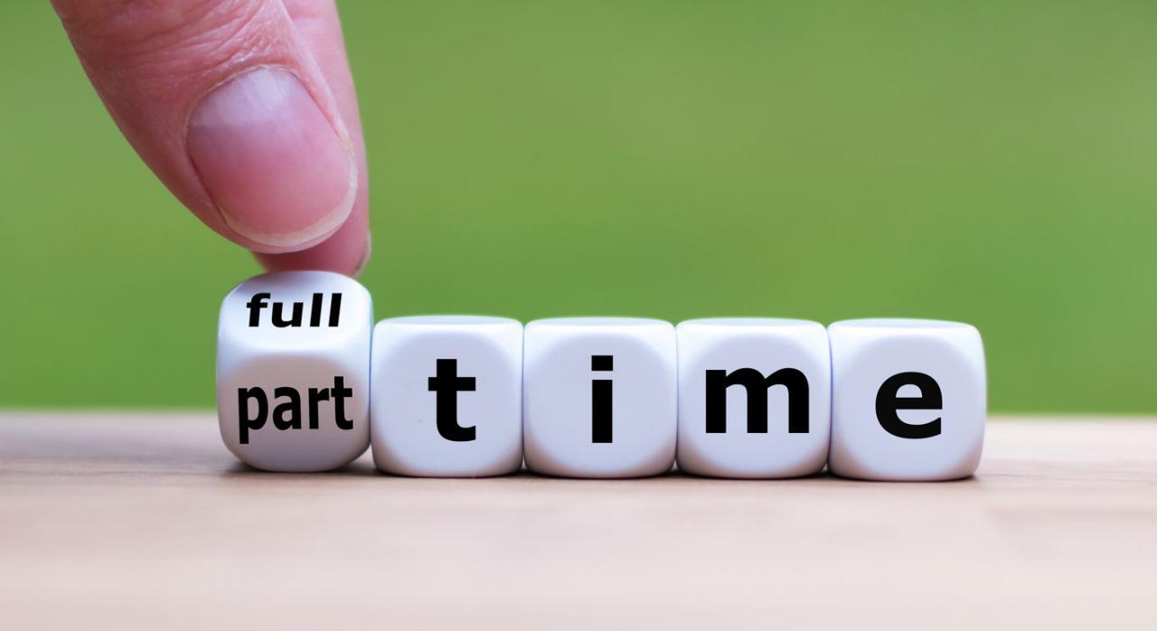 """Fondo de Garantía Salarial (FOGASA). Mano girando un dado, cambiando la frase """"a tiempo completo"""" por la frase """"a tiempo parcial"""""""