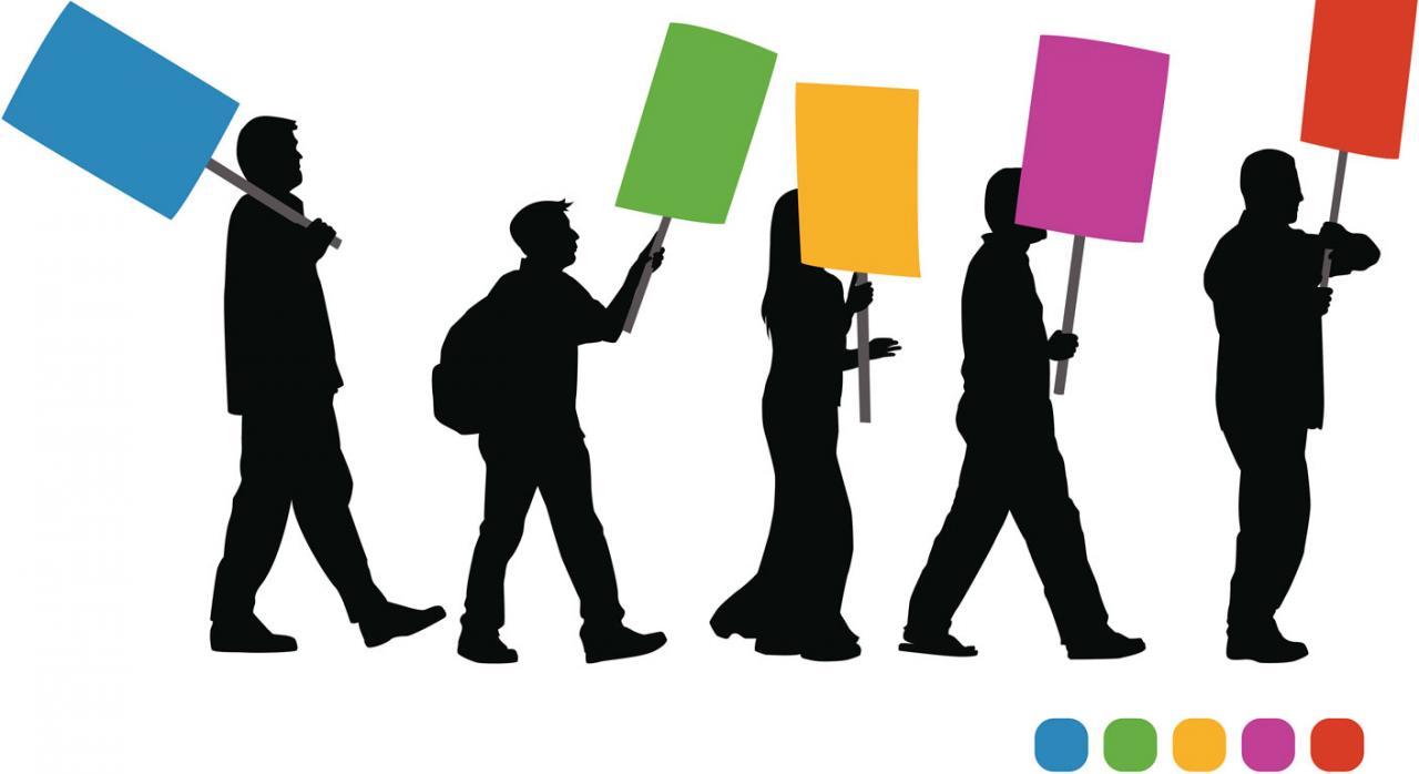 Huelga; competencia del orden social; personal funcionario. Dibujo de cinco siluetas de personas con pancartas haciendo huelga