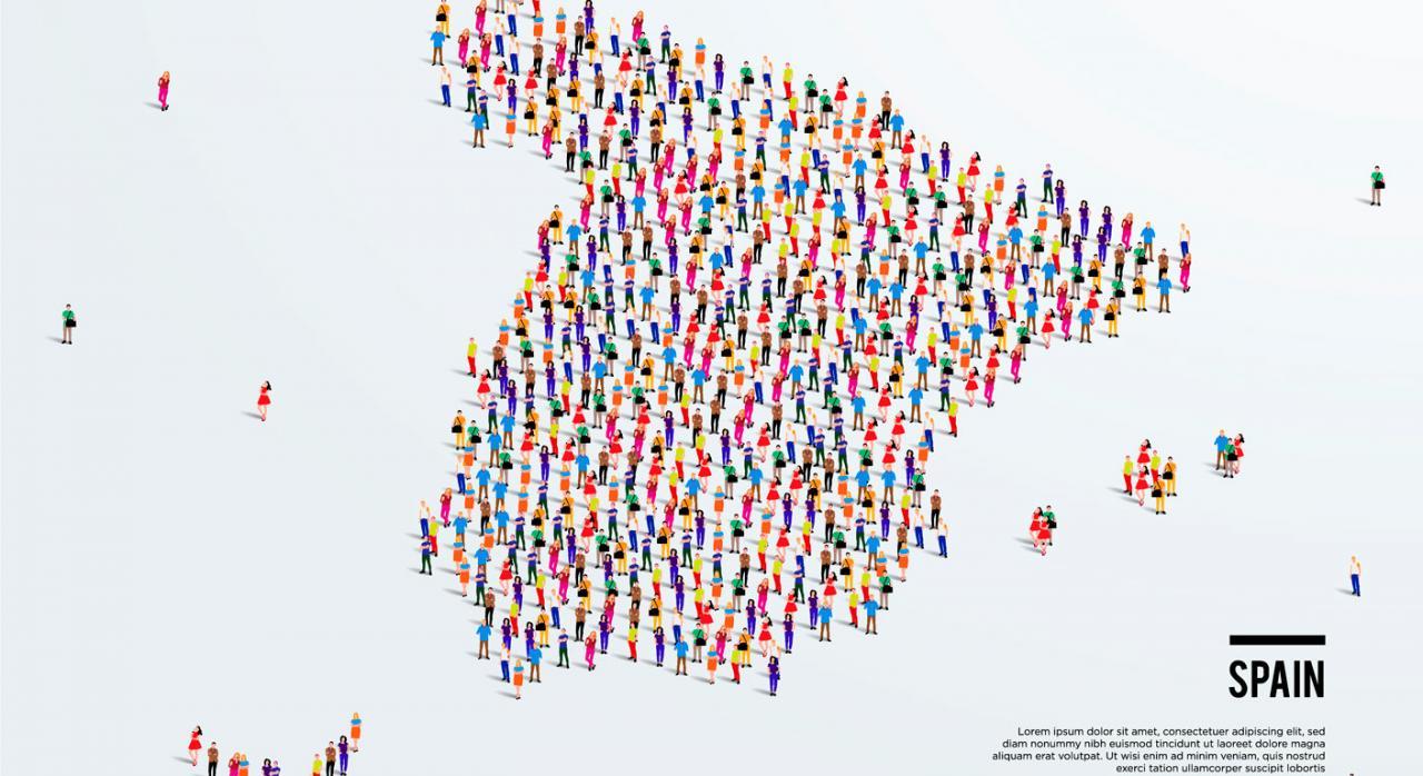 Normativa autonómica general y convocatorias de ayudas (del 1 al 15 de mayo de 2021). Mapa de España formado por imagenes de personas