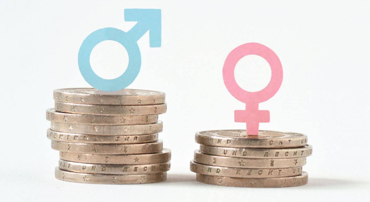 El art. 157 TFUE es imperativo e impone una obligación de resultado. Imagen de dos montones de monedas con el simbolo masculino y femenino
