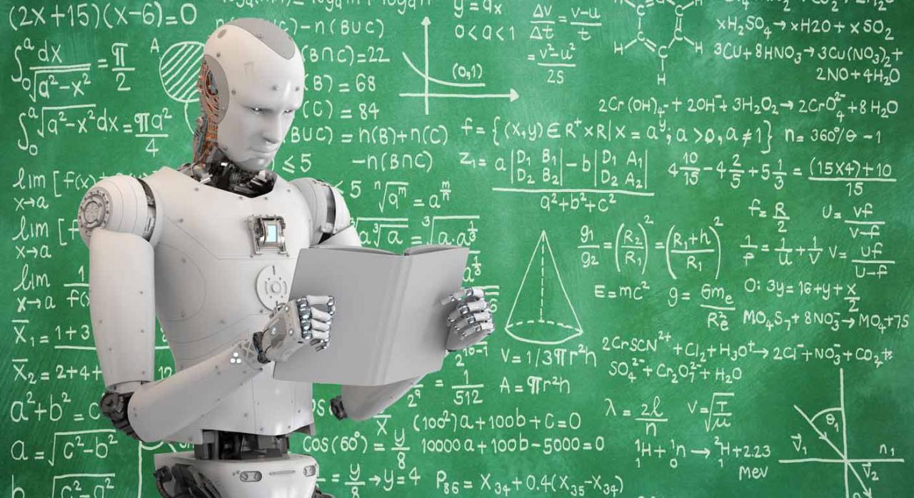 Trabajadores robots. Imagen de un robot soteniendo un libro de espaldas a una pantalla de cálculos matemáticos